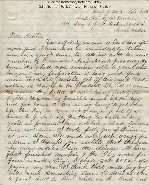 Letter from Luther Lawrence to his brother Frank, March 1, 1863