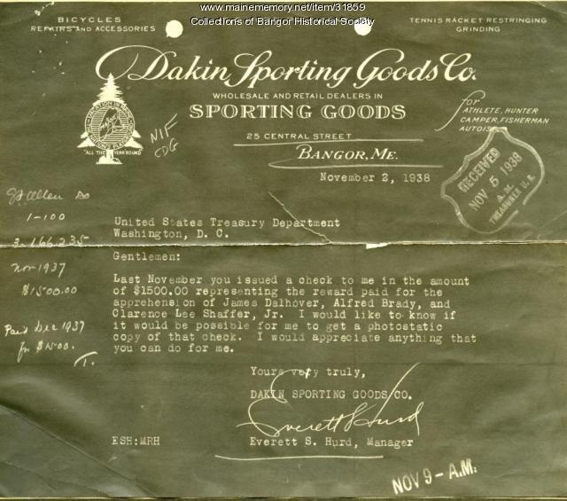 Shep Hurd Letter To U.S. Treasury Department, Bangor, 1938