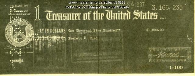 Shep Hurd reward, Bangor, 1938