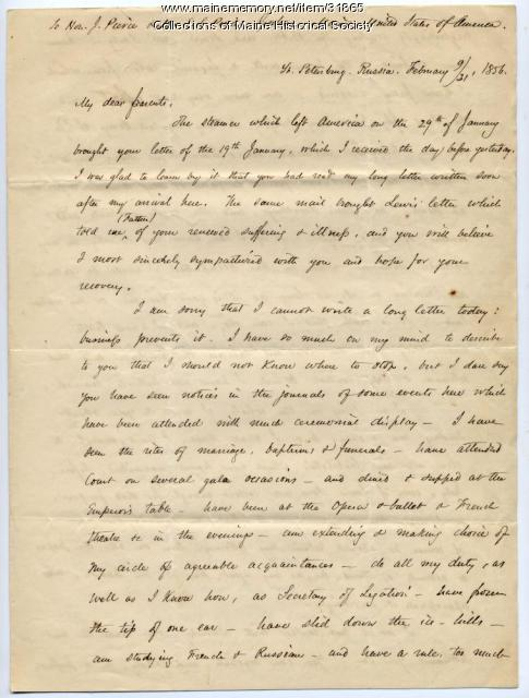 Josiah Pierce letter on activities in Russia, 1856