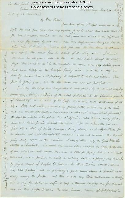 Josiah Pierce letter on May Day in Russia, 1856