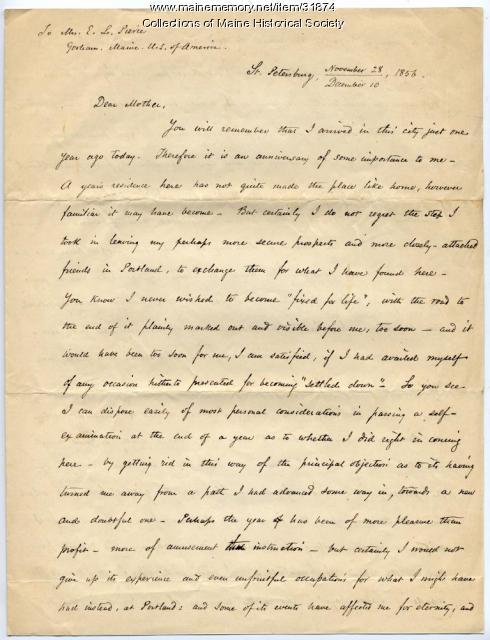 Josiah Pierce reflection on year in Russia, 1856