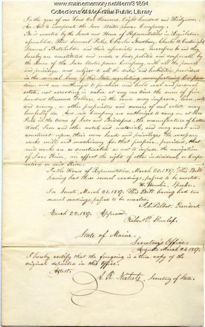 Incorporation of the Saco Water Power Machine Company, 1837