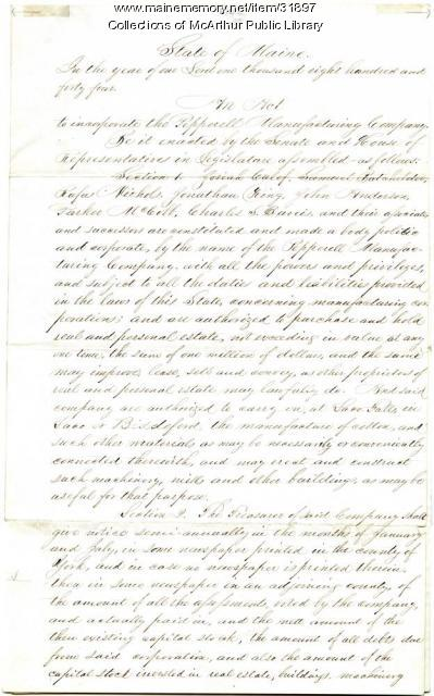 Incorporation of the Pepperell Manufacturing Company, Biddeford, 1844
