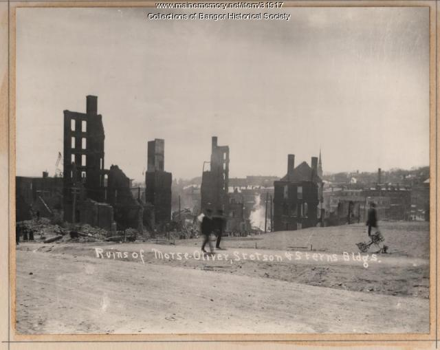 Ruins of Downtown Buildings, Bangor, 1911