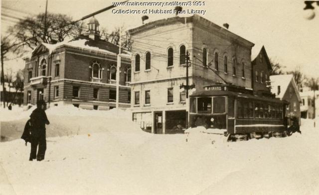 Ingraham's Corner, Trolley plowing snow, Hallowell, ca. 1918
