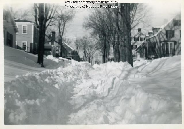 Blizzard, Academy Street looking west, Hallowell, 1952