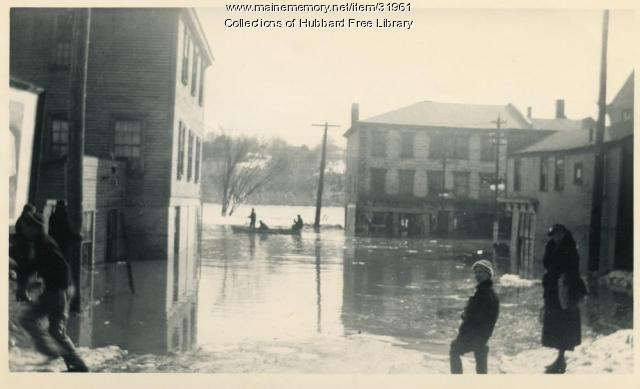 Flood, Lower Central Street, Hallowell, 1936