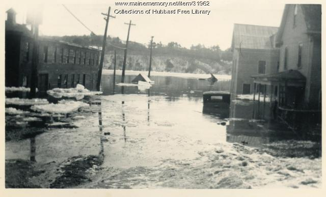 Flood, Lower end of Temple Street, Hallowell, 1936