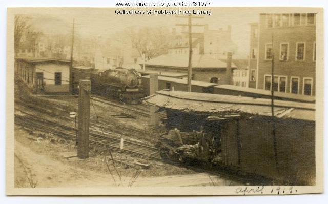Train Wreck, Granite Works siding, Hallowell, 1919