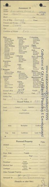 Assessor's Record, 15-21 Abbott Street, Portland, 1924