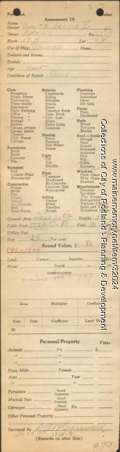 Assessor's Record, 67-69 Adams Street, Portland, 1924