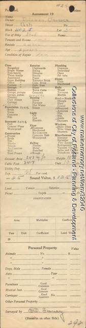 Assessor's Record, 133 Ash Avenue, Portland, 1924