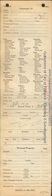 Assessor's Record, 35 Alba Street, Portland, 1924