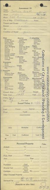 Assessor's Record, 23-25 Abbott Street, Portland, 1924