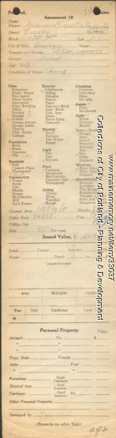 Assessor's Record, 134-144 Bradley Street, Portland, 1924