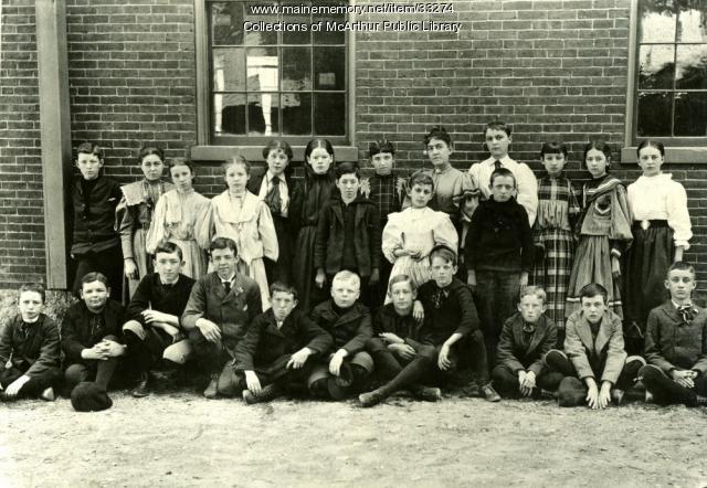 Cora Belle Bickford and Spruce Street School students, Biddeford, 1896