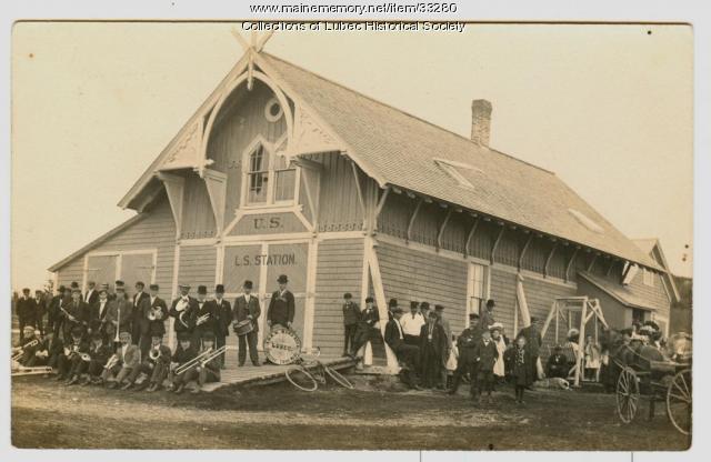 Band at Life Saving Station, Lubec, ca. 1908