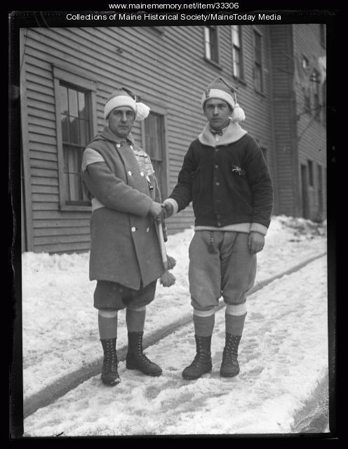 French snowshoe club members, Biddeford, 1927