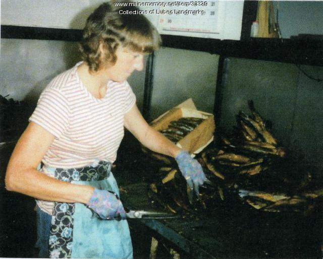 Working in McCurdy's Skinning Shed, Lubec, ca. 1982