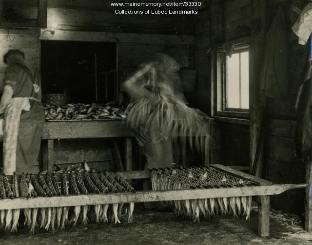 Stringing herring at McCurdy's Smokehouse, Lubec, ca. 1964