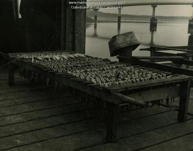 Herring drying at McCurdy's Smokehouse, Lubec, ca. 1964