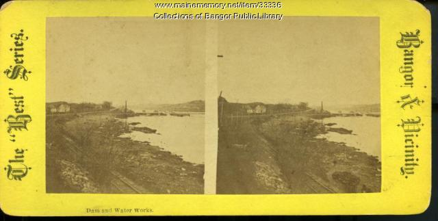 Dam and Water Works, Bangor, ca. 1881