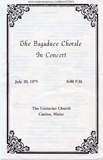 Bagaduce Chorale Program, Castine, 1975