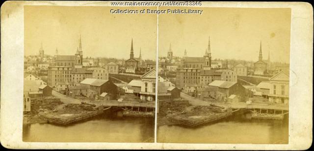 View of Bangor and Kenduskeag Stream, ca. 1870