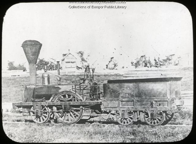 "Bangor and Piscataquis Canal locomotive ""Pioneer,"" ca, 1890"
