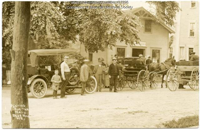 Waiting for the mail, Blue Hill, ca. 1910