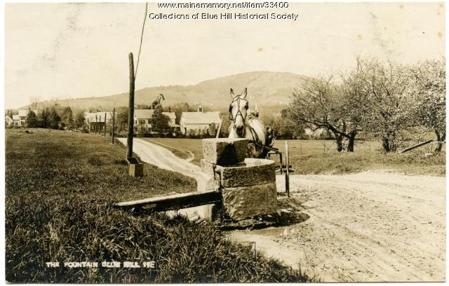Town fountain and watering trough, Blue Hill, ca. 1910