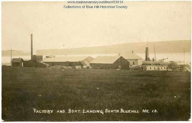 Clam Packing Factory and Steamboat Wharf, Blue Hill, ca. 1900