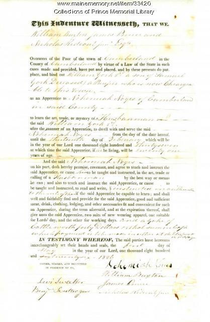 William York 3rd indenture document, Cumberland, 1826