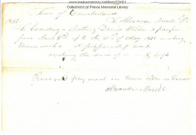 Alexander Merrill receipt, Cumberland, 1832