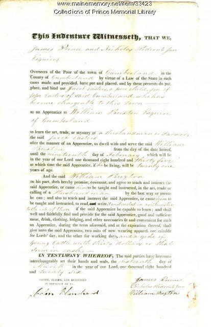 Jacob Easters indenture document, Cumberland, 1826