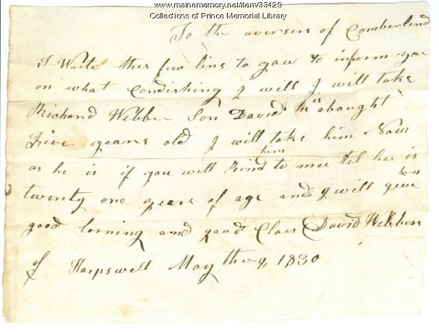 David Webber letter to Cumberland Overseers of the Poor, 1830
