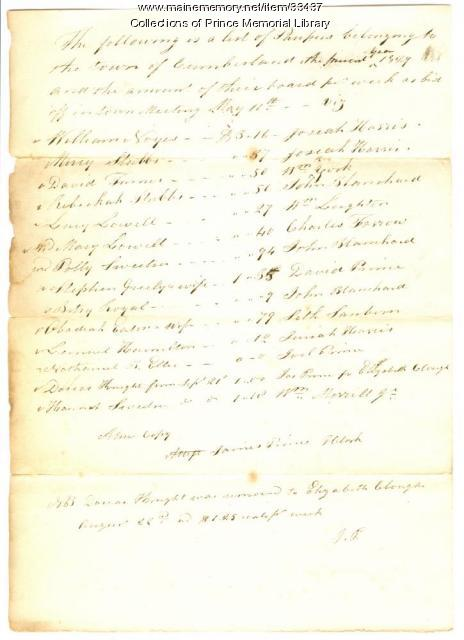 List of paupers belonging to Town of Cumberland, 1829