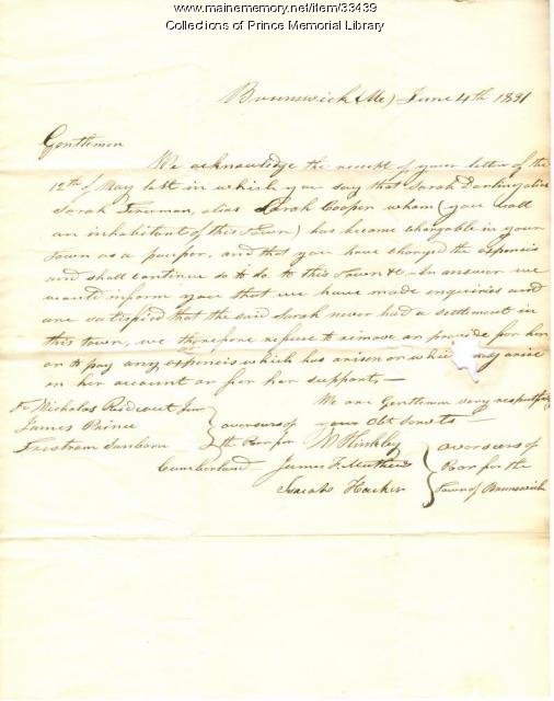 Letter regarding Sarah Darling, Cumberland, June 4, 1831