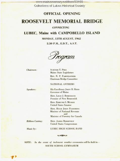 Roosevelt Bridge dedication program, Lubec, 1962