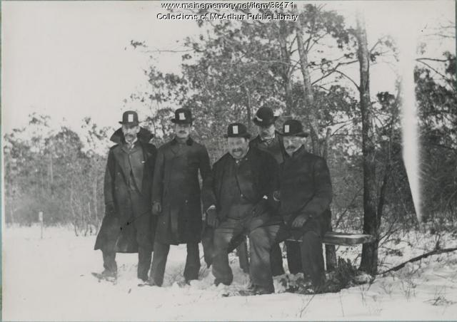 Judges and starters at winter horse races on the Saco River, 1912