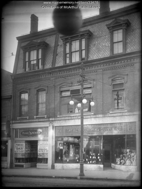 Shops in the Exchange Block, Biddeford, circa 1915
