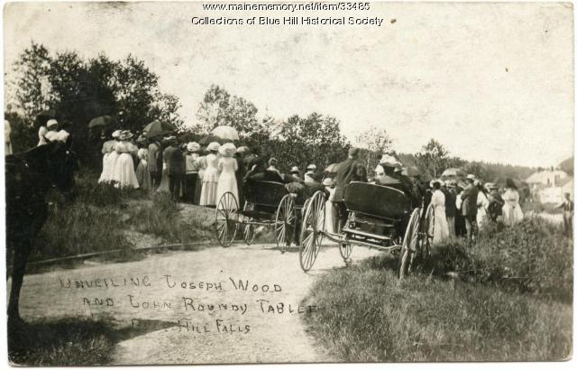 Dedication of monument to Blue Hill's founders, 1910