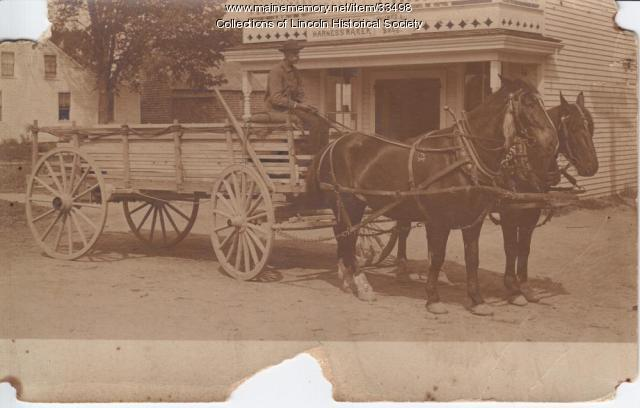 Horse and Wagon load of lumber, Lincoln, ca. 1900