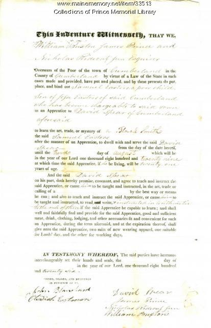 Samuel Easters indenture document, Cumberland, 1826
