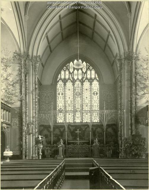 View of the St. John's Tiffany Window, Bangor, ca. 1906