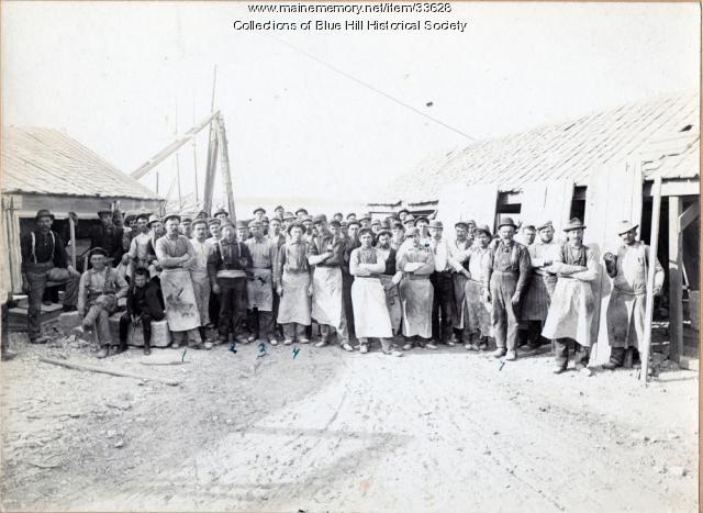 Blue Hill Granite Quarry workers, ca. 1900