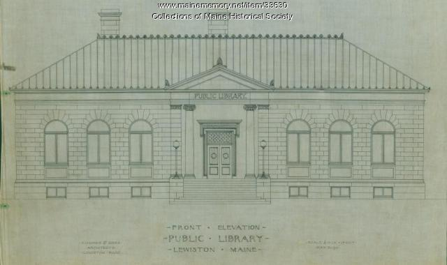 Architectural drawing, Lewiston Public Library, 1901