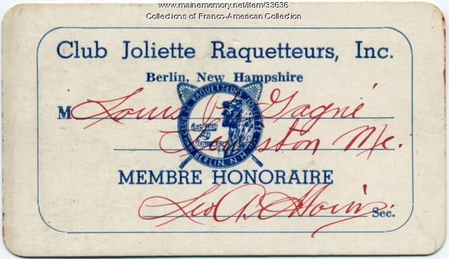 Louis P. Gagne honorary membership card, ca. 1950