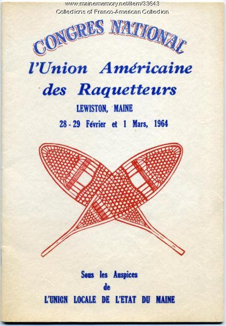 Program, Congres National l'Union Americaine des Raquetteurs, Lewiston, 1964